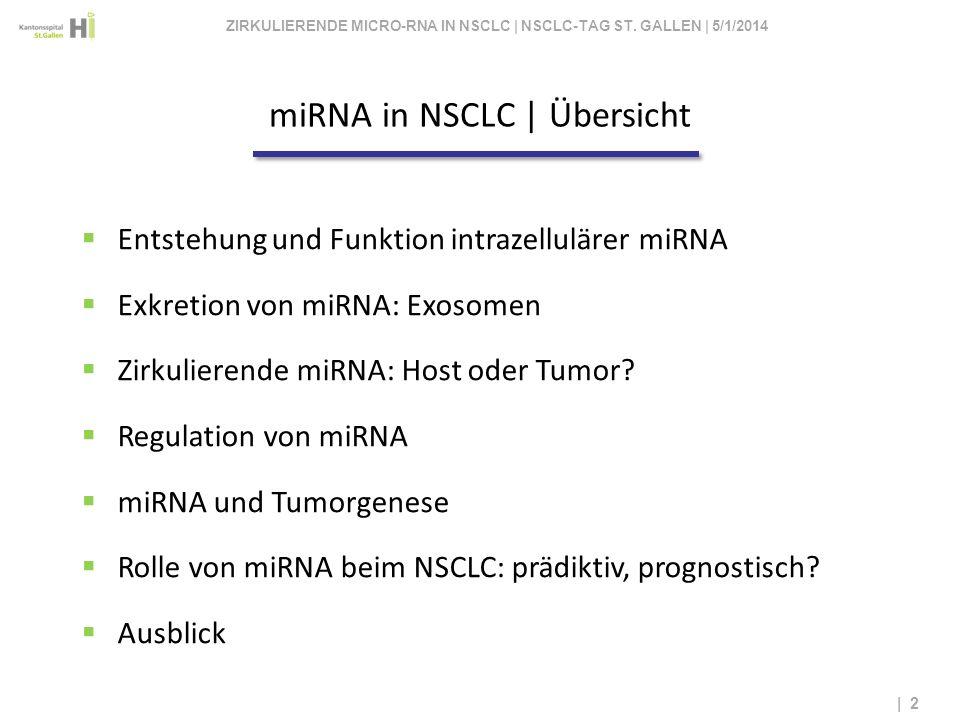 miRNA in NSCLC | Übersicht | 2 Entstehung und Funktion intrazellulärer miRNA Exkretion von miRNA: Exosomen Zirkulierende miRNA: Host oder Tumor? Regul
