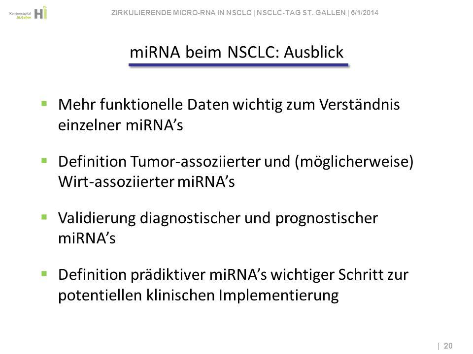 | 20 Mehr funktionelle Daten wichtig zum Verständnis einzelner miRNAs Definition Tumor-assoziierter und (möglicherweise) Wirt-assoziierter miRNAs Vali