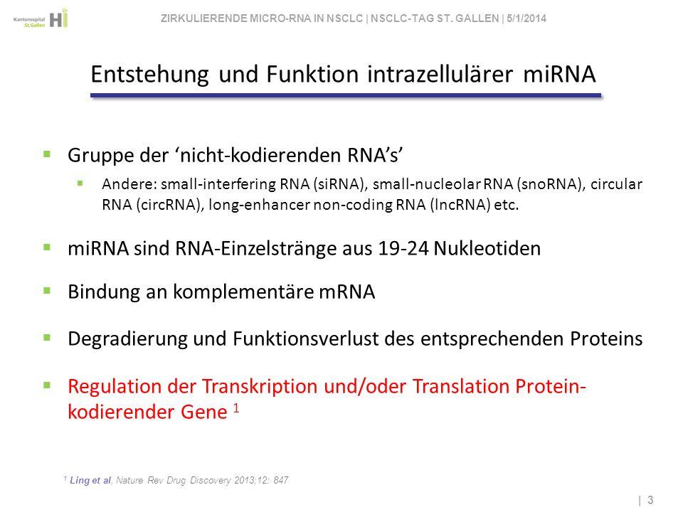 Entstehung und Funktion intrazellulärer miRNA 1 Ling et al, Nature Rev Drug Discovery 2013;12: 847 | 3 Gruppe der nicht-kodierenden RNAs Andere: small