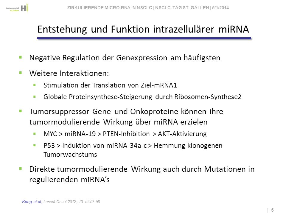 Kong et al, Lancet Oncol 2012; 13: e249–58 | 5 Negative Regulation der Genexpression am häufigsten Weitere Interaktionen: Stimulation der Translation
