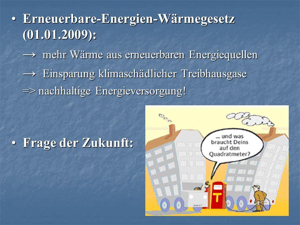 Erneuerbare-Energien-Wärmegesetz (01.01.2009):Erneuerbare-Energien-Wärmegesetz (01.01.2009): mehr Wärme aus erneuerbaren Energiequellen mehr Wärme aus erneuerbaren Energiequellen Einsparung klimaschädlicher Treibhausgase Einsparung klimaschädlicher Treibhausgase => nachhaltige Energieversorgung.