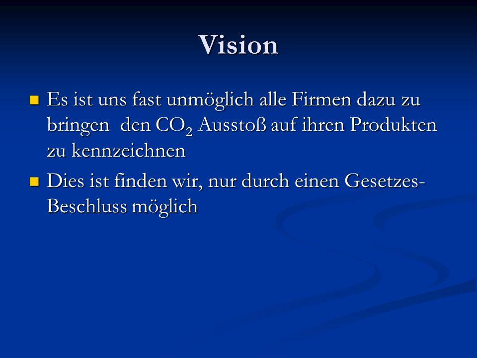 Vision Es ist uns fast unmöglich alle Firmen dazu zu bringen den CO 2 Ausstoß auf ihren Produkten zu kennzeichnen Es ist uns fast unmöglich alle Firmen dazu zu bringen den CO 2 Ausstoß auf ihren Produkten zu kennzeichnen Dies ist finden wir, nur durch einen Gesetzes- Beschluss möglich Dies ist finden wir, nur durch einen Gesetzes- Beschluss möglich