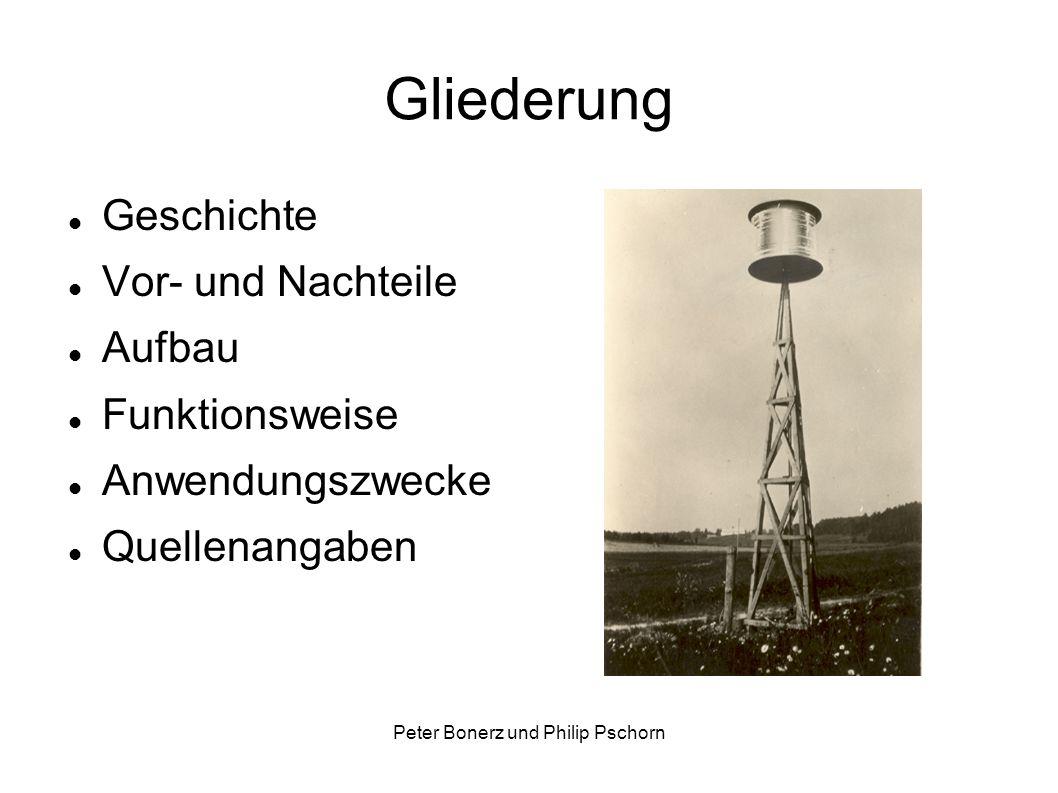 Peter Bonerz und Philip Pschorn Gliederung Geschichte Vor- und Nachteile Aufbau Funktionsweise Anwendungszwecke Quellenangaben