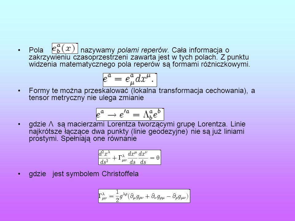 Pola nazywamy polami reperów. Cała informacja o zakrzywieniu czasoprzestrzeni zawarta jest w tych polach. Z punktu widzenia matematycznego pola reperó