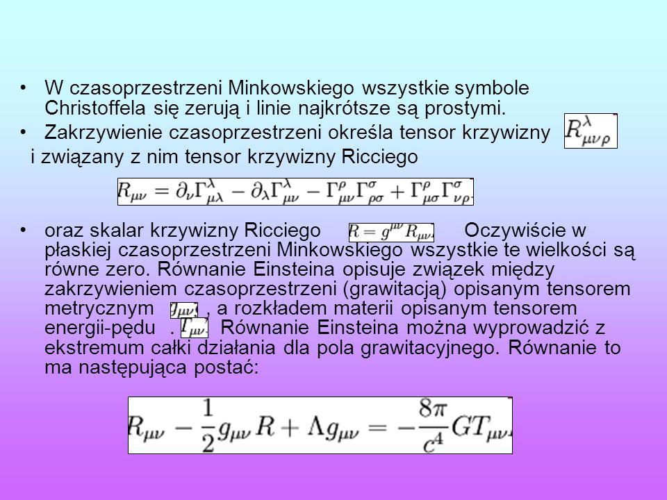 W czasoprzestrzeni Minkowskiego wszystkie symbole Christoffela się zerują i linie najkrótsze są prostymi. Zakrzywienie czasoprzestrzeni określa tensor
