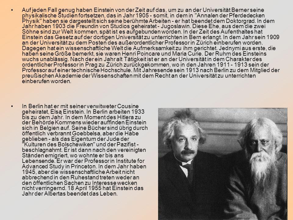 Auf jeden Fall genug haben Einstein von der Zeit auf das, um zu an der Universität Berner seine physikalische Studien fortsetzen, das in Jahr 1905 - s
