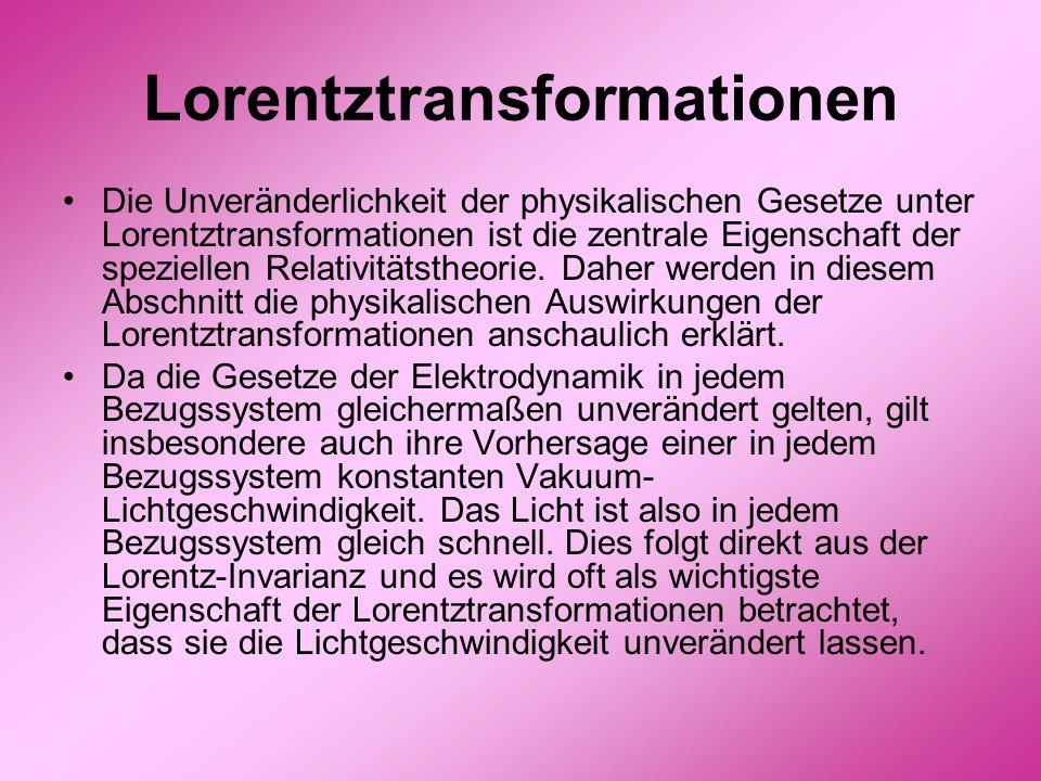 Lorentztransformationen Die Unveränderlichkeit der physikalischen Gesetze unter Lorentztransformationen ist die zentrale Eigenschaft der speziellen Re