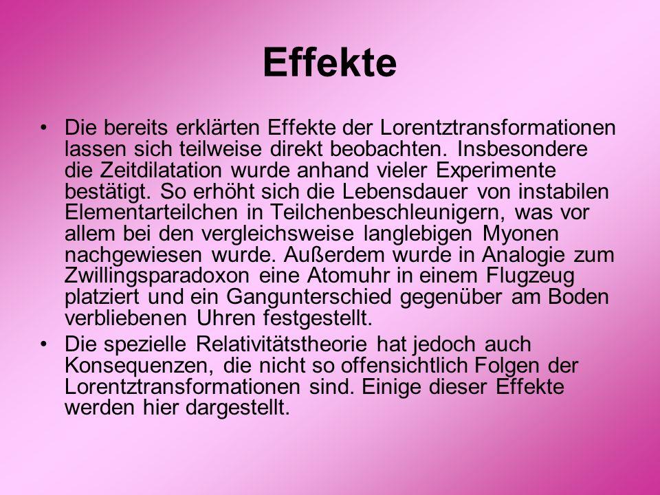 Effekte Die bereits erklärten Effekte der Lorentztransformationen lassen sich teilweise direkt beobachten. Insbesondere die Zeitdilatation wurde anhan