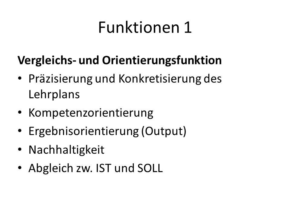 Funktionen 1 Vergleichs- und Orientierungsfunktion Präzisierung und Konkretisierung des Lehrplans Kompetenzorientierung Ergebnisorientierung (Output) Nachhaltigkeit Abgleich zw.