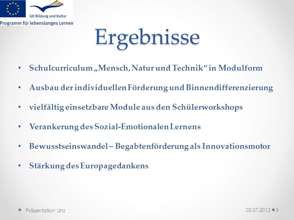 Präsentation Linz Ergebnisse Schulcurriculum Mensch, Natur und Technik in Modulform Ausbau der individuellen Förderung und Binnendifferenzierung vielf