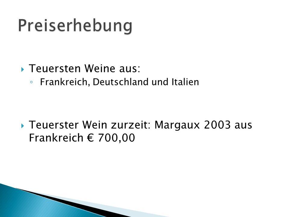 Teuersten Weine aus: Frankreich, Deutschland und Italien Teuerster Wein zurzeit: Margaux 2003 aus Frankreich 700,00