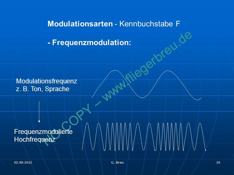 NO COPY – www.fliegerbreu.de 10 Modulationsarten - Kennbuchstabe F - Frequenzmodulation: Modulationsfrequenz z. B. Ton, Sprache Frequenzmodulierte Hoc