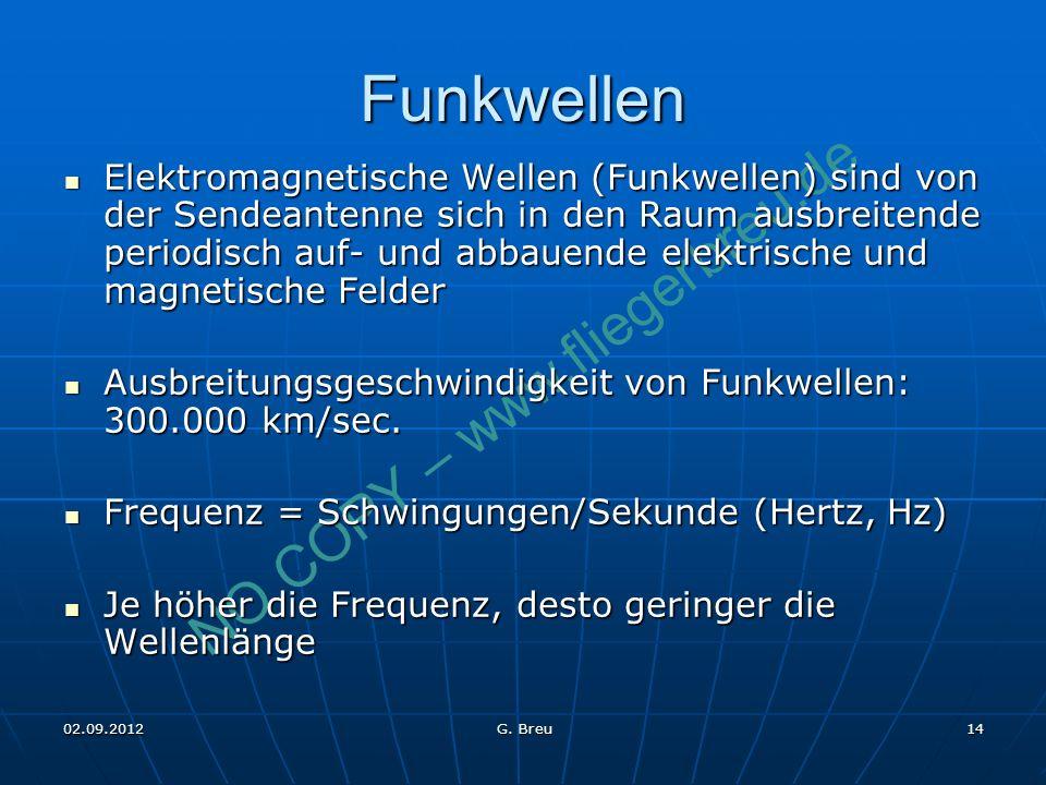 NO COPY – www.fliegerbreu.de 14 Funkwellen Elektromagnetische Wellen (Funkwellen) sind von der Sendeantenne sich in den Raum ausbreitende periodisch a
