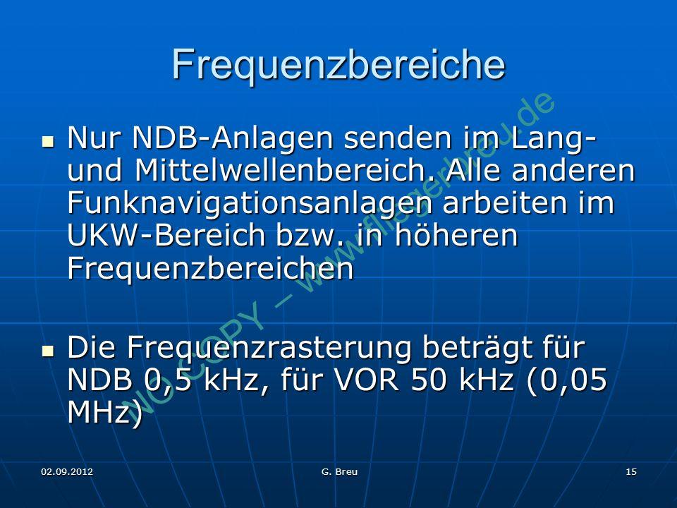 NO COPY – www.fliegerbreu.de 15 Frequenzbereiche Nur NDB-Anlagen senden im Lang- und Mittelwellenbereich. Alle anderen Funknavigationsanlagen arbeiten