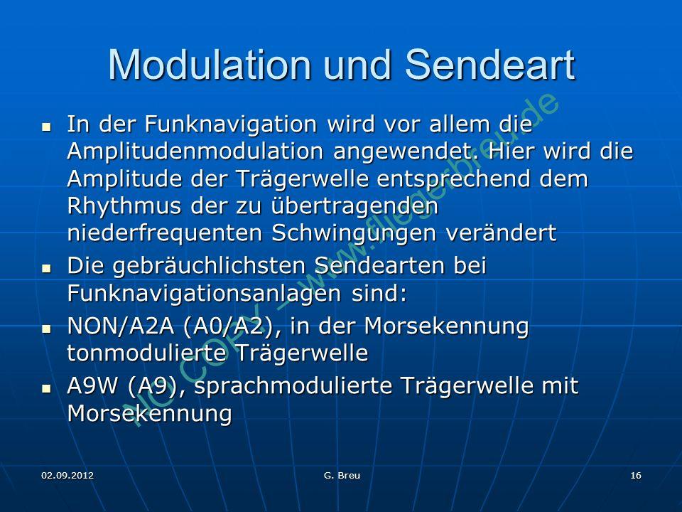 NO COPY – www.fliegerbreu.de 16 Modulation und Sendeart In der Funknavigation wird vor allem die Amplitudenmodulation angewendet. Hier wird die Amplit