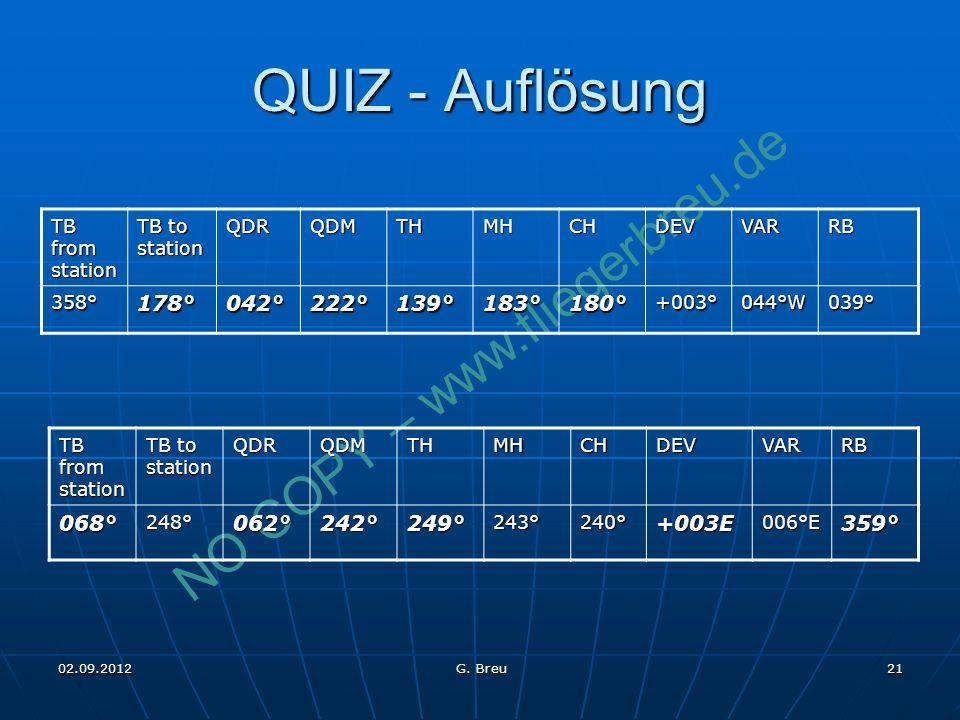 NO COPY – www.fliegerbreu.de 21 QUIZ - Auflösung TB from station TB to station QDRQDMTHMHCHDEVVARRB 358°178°042°222°139°183°180°+003°044°W039° TB from