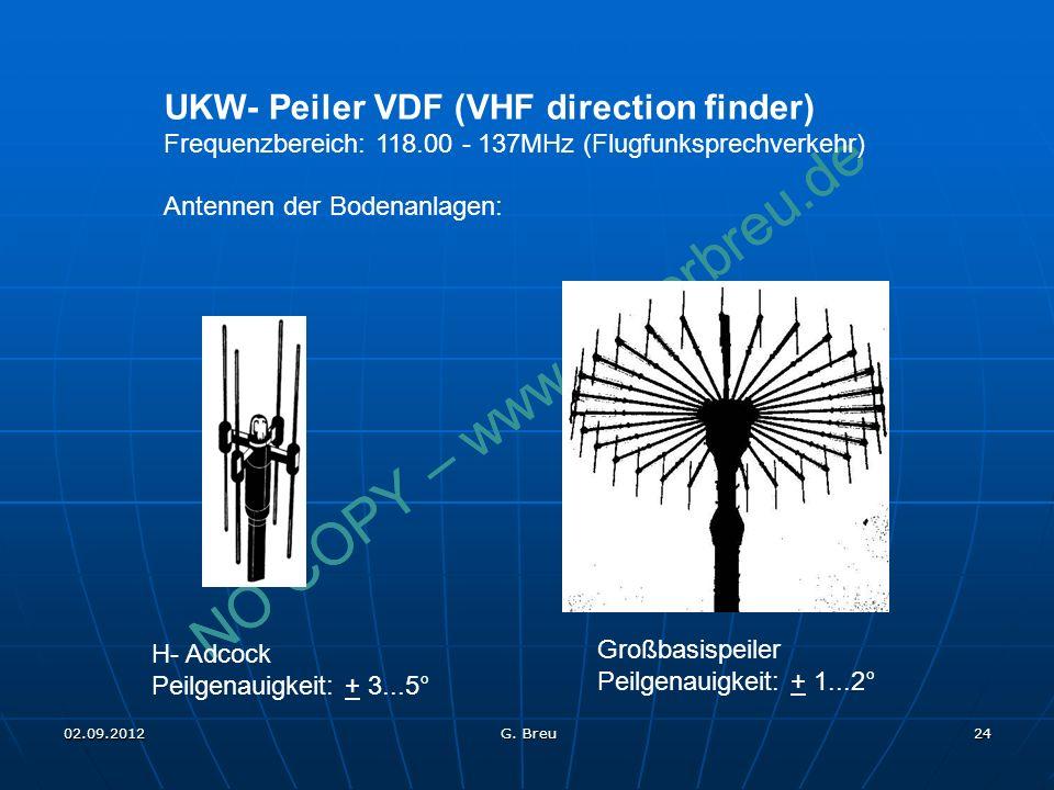 NO COPY – www.fliegerbreu.de 24 UKW- Peiler VDF (VHF direction finder) Frequenzbereich: 118.00 - 137MHz (Flugfunksprechverkehr) Antennen der Bodenanlagen: H- Adcock Peilgenauigkeit: + 3...5° Großbasispeiler Peilgenauigkeit: + 1...2° 02.09.2012 G.