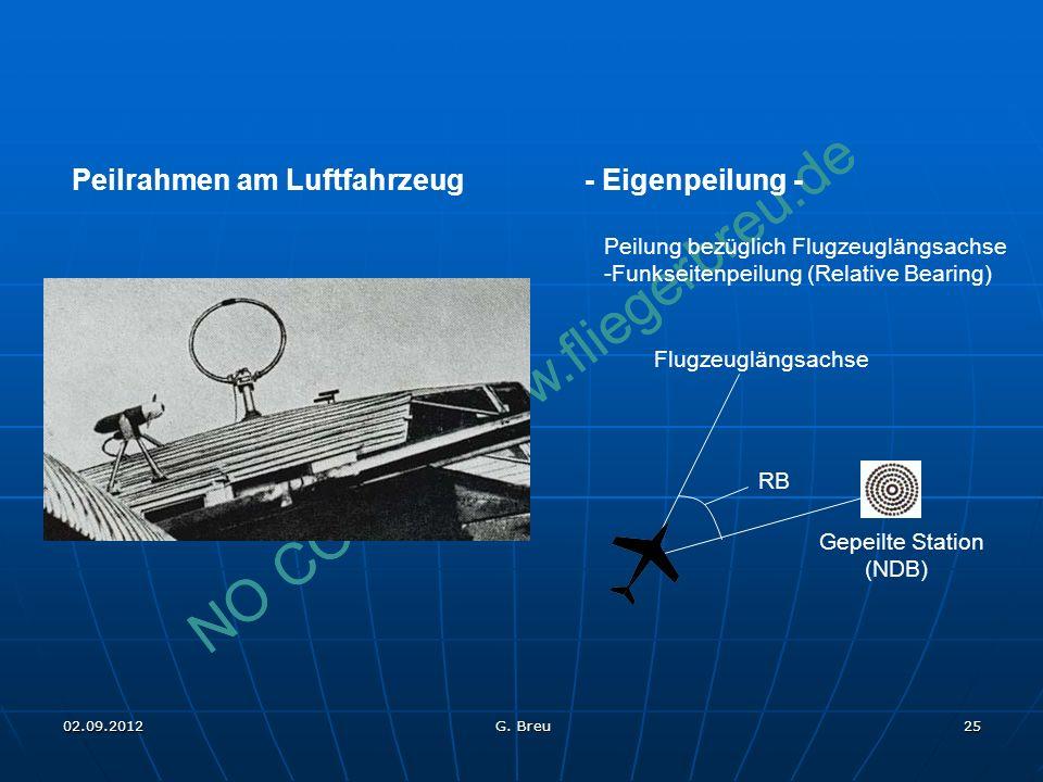 NO COPY – www.fliegerbreu.de 25 - Eigenpeilung - Peilung bezüglich Flugzeuglängsachse -Funkseitenpeilung (Relative Bearing) Peilrahmen am Luftfahrzeug RB Flugzeuglängsachse Gepeilte Station (NDB) 02.09.2012 G.