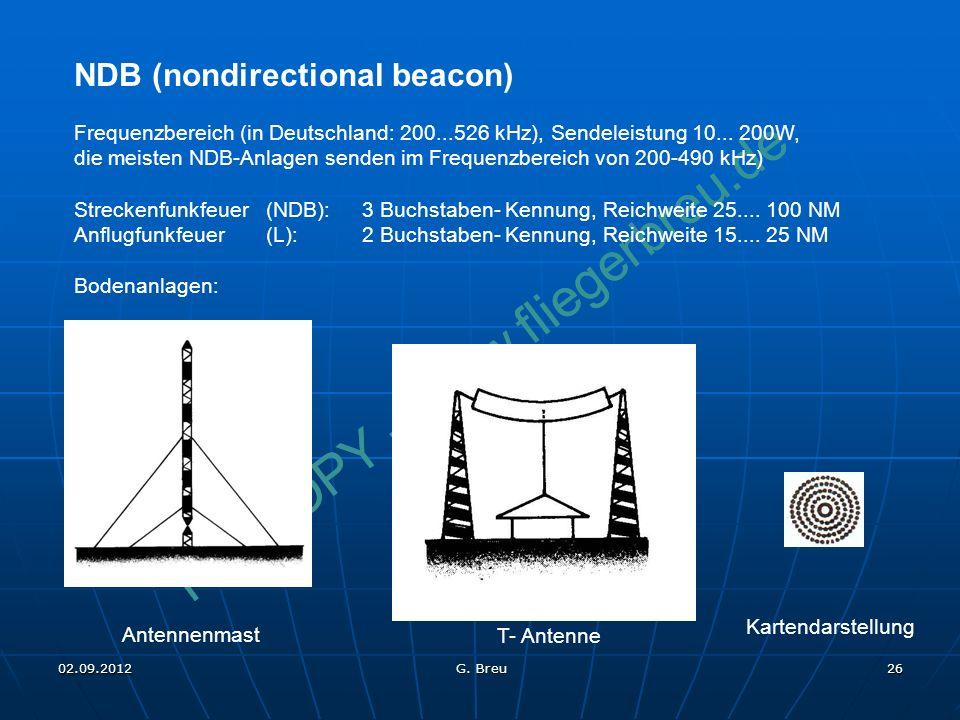 NO COPY – www.fliegerbreu.de 26 NDB (nondirectional beacon) Frequenzbereich (in Deutschland: 200...526 kHz), Sendeleistung 10... 200W, die meisten NDB
