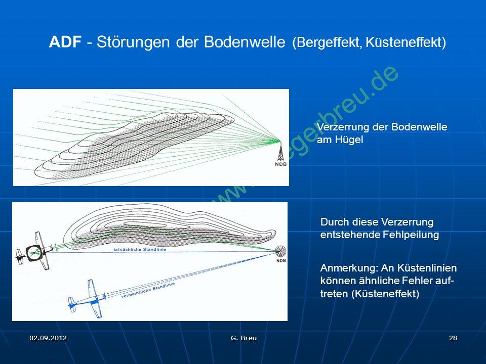 NO COPY – www.fliegerbreu.de 28 ADF - Störungen der Bodenwelle (Bergeffekt, Küsteneffekt) Verzerrung der Bodenwelle am Hügel Durch diese Verzerrung en