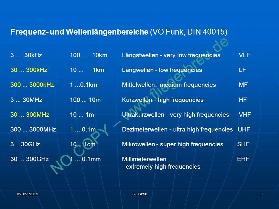 NO COPY – www.fliegerbreu.de 3 Frequenz- und Wellenlängenbereiche (VO Funk, DIN 40015) 3... 30kHz 100... 10kmLängstwellen - very low frequencies VLF 3