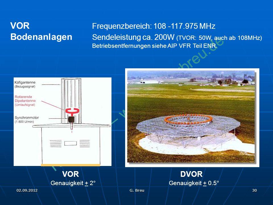 NO COPY – www.fliegerbreu.de 30 VOR Frequenzbereich: 108 -117.975 MHz Bodenanlagen Sendeleistung ca. 200W (TVOR: 50W, auch ab 108MHz) Betriebsentfernu