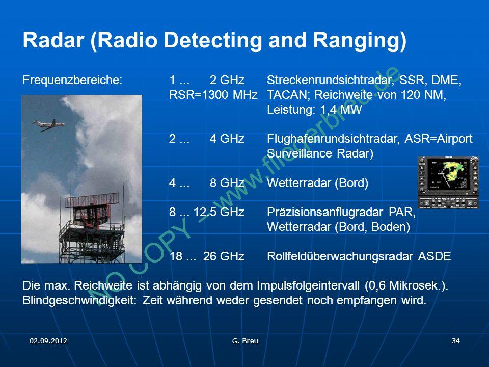 NO COPY – www.fliegerbreu.de 34 Radar (Radio Detecting and Ranging) Frequenzbereiche: 1... 2 GHzStreckenrundsichtradar, SSR, DME, RSR=1300 MHzTACAN; R