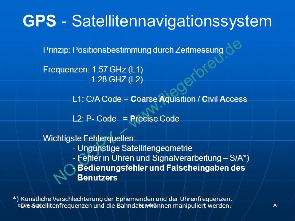 NO COPY – www.fliegerbreu.de 36 Prinzip: Positionsbestimmung durch Zeitmessung Frequenzen: 1.57 GHz (L1) 1.28 GHZ (L2) L1: C/A Code = Coarse Aquisition / Civil Access L2: P- Code = Precise Code Wichtigste Fehlerquellen: - Ungünstige Satellitengeometrie - Fehler in Uhren und Signalverarbeitung – S/A*) - Bedienungsfehler und Falscheingaben des Benutzers *) Künstliche Verschlechterung der Ephemeriden und der Uhrenfrequenzen.