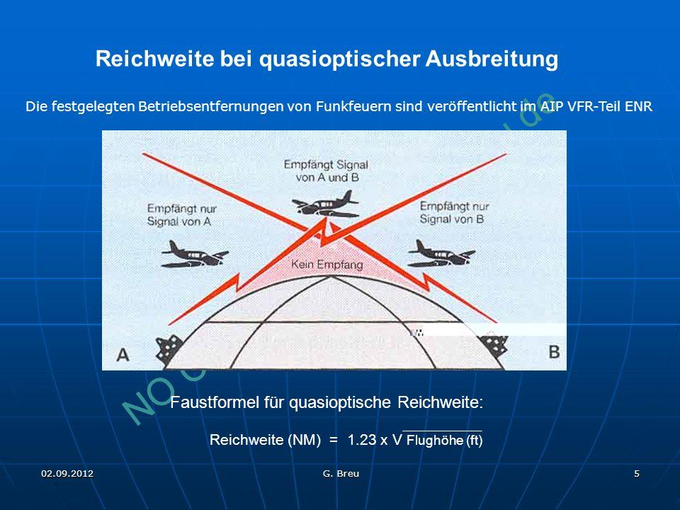 NO COPY – www.fliegerbreu.de 5 Reichweite bei quasioptischer Ausbreitung Faustformel für quasioptische Reichweite: Reichweite (NM) = 1.23 x V Flughöhe