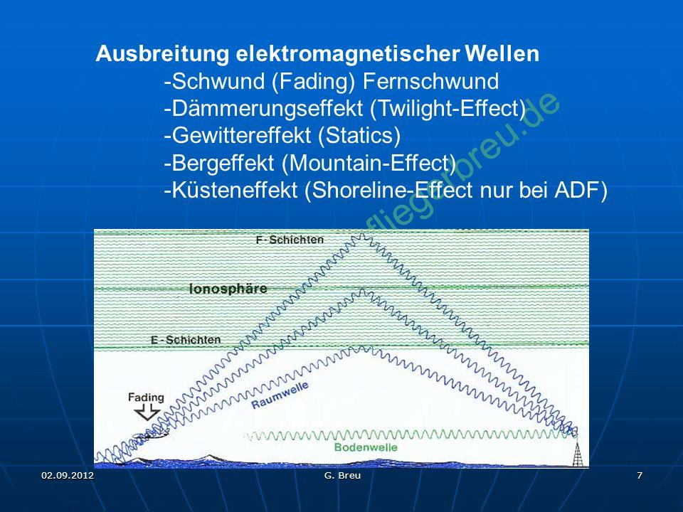 NO COPY – www.fliegerbreu.de 7 Ausbreitung elektromagnetischer Wellen -Schwund (Fading) Fernschwund -Dämmerungseffekt (Twilight-Effect) -Gewittereffekt (Statics) -Bergeffekt (Mountain-Effect) -Küsteneffekt (Shoreline-Effect nur bei ADF) 02.09.2012 G.