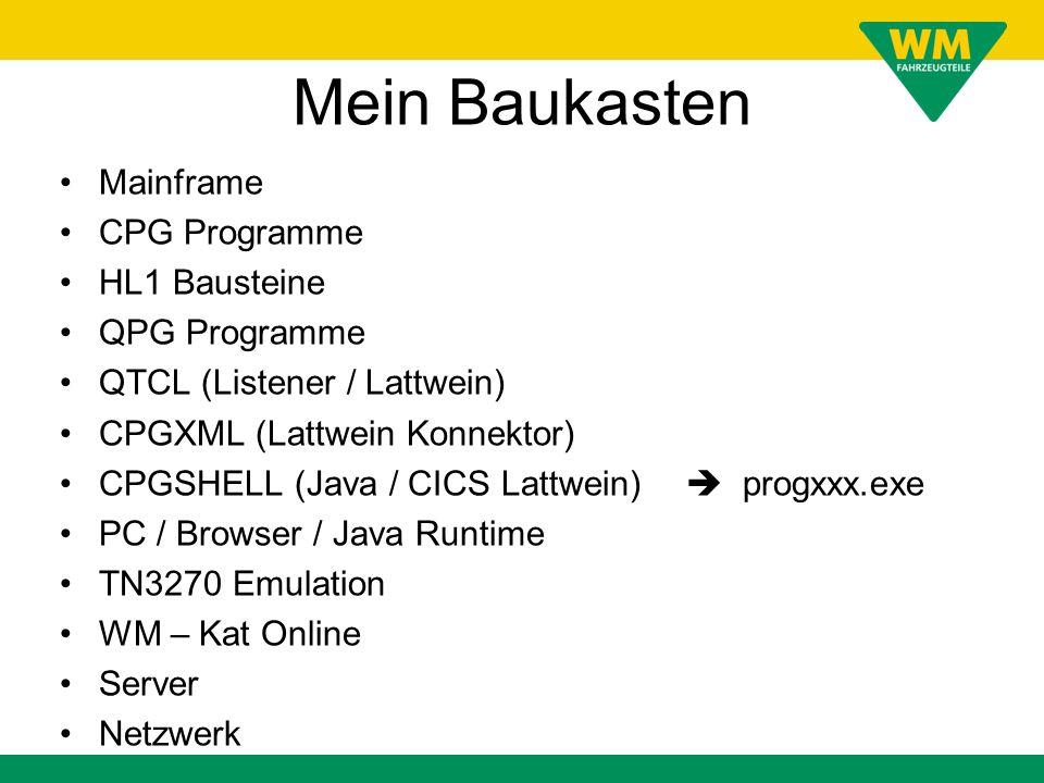 Mein Baukasten Mainframe CPG Programme HL1 Bausteine QPG Programme QTCL (Listener / Lattwein) CPGXML (Lattwein Konnektor) CPGSHELL (Java / CICS Lattwein) progxxx.exe PC / Browser / Java Runtime TN3270 Emulation WM – Kat Online Server Netzwerk