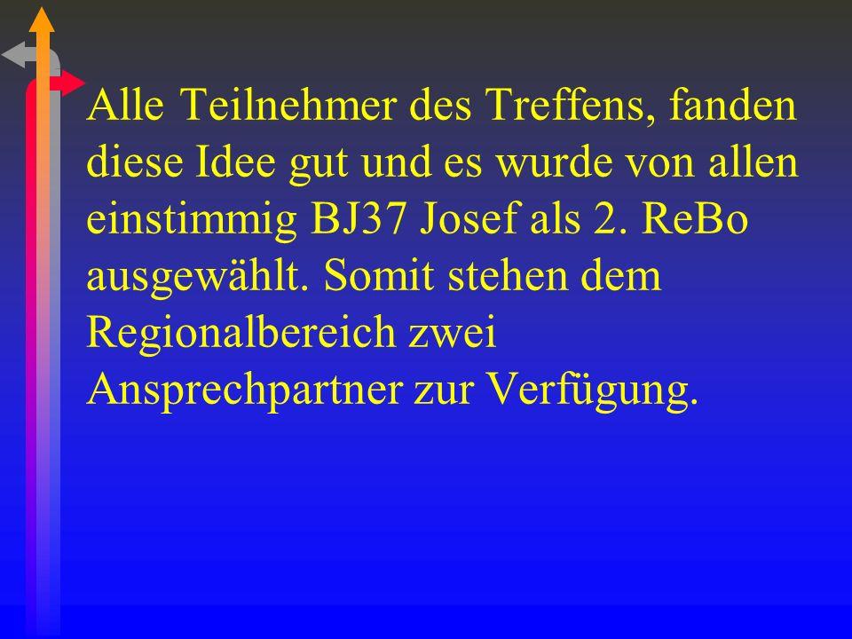 Alle Teilnehmer des Treffens, fanden diese Idee gut und es wurde von allen einstimmig BJ37 Josef als 2.