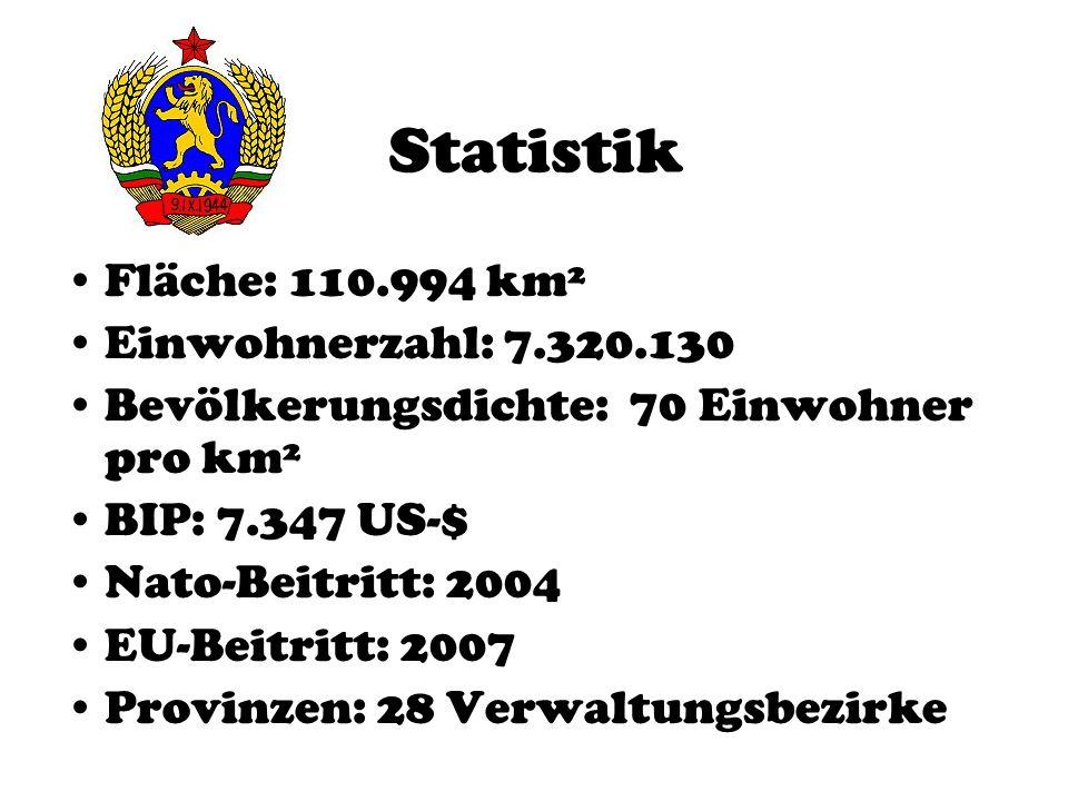 Statistik Fläche: 110.994 km² Einwohnerzahl: 7.320.130 Bevölkerungsdichte: 70 Einwohner pro km² BIP: 7.347 US-$ Nato-Beitritt: 2004 EU-Beitritt: 2007