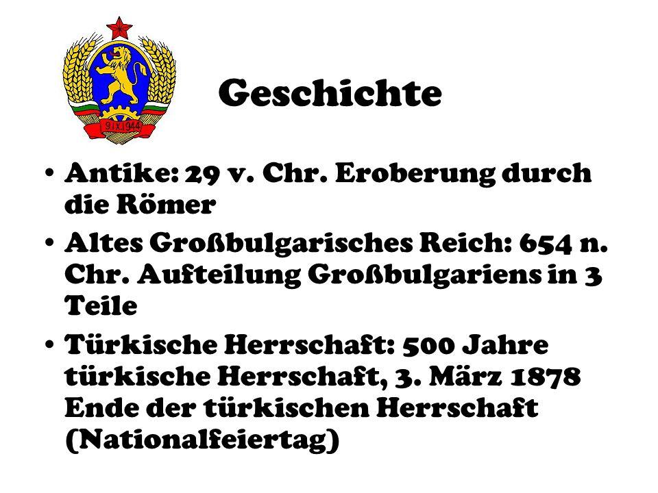 Kommunismus Dauer: 1945-1990 Bündnis: Teil des Warschauer Paktes Ethnische Säuberungen: Massenmord (Zahlen unbekannt) Türken wurden diskriminiert 1990 Sturz des Kommunismus