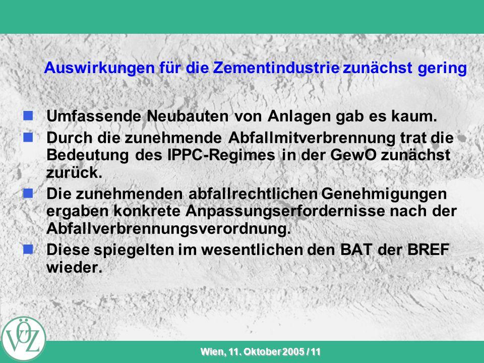 VÖZ-Sommersitzung Wien, 11. Oktober 2005 / 11 Auswirkungen für die Zementindustrie zunächst gering Umfassende Neubauten von Anlagen gab es kaum. Durch