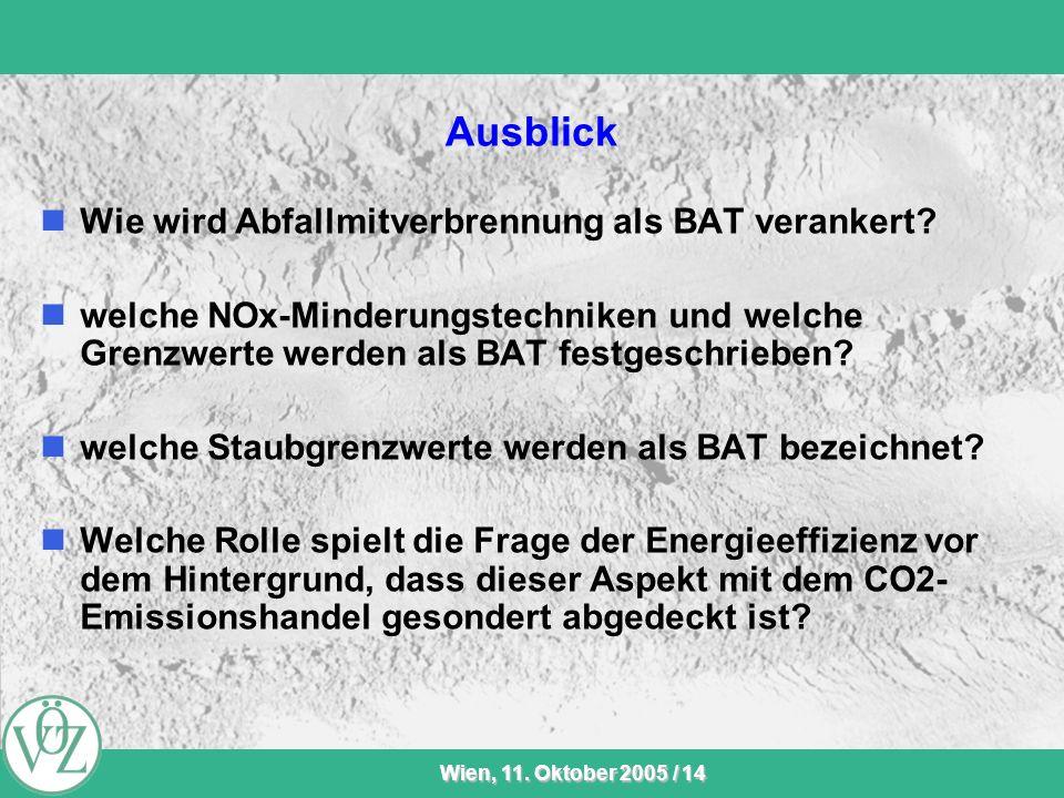 VÖZ-Sommersitzung Wien, 11. Oktober 2005 / 14 Ausblick Wie wird Abfallmitverbrennung als BAT verankert? welche NOx-Minderungstechniken und welche Gren