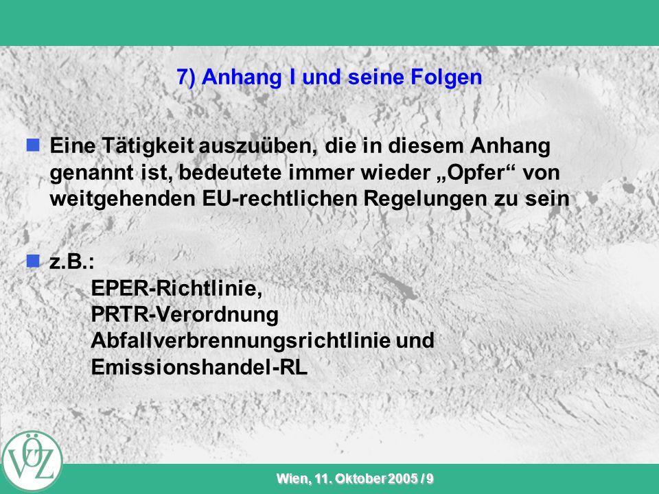 VÖZ-Sommersitzung Wien, 11. Oktober 2005 / 9 7) Anhang I und seine Folgen Eine Tätigkeit auszuüben, die in diesem Anhang genannt ist, bedeutete immer
