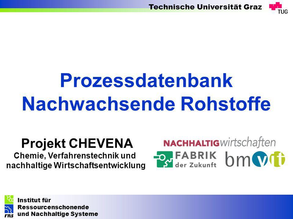Institut für Ressourcenschonende und Nachhaltige Systeme Technische Universität Graz Projekt CHEVENA Chemie, Verfahrenstechnik und nachhaltige Wirtsch