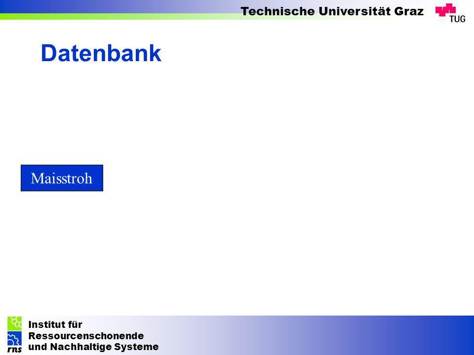 Institut für Ressourcenschonende und Nachhaltige Systeme Technische Universität Graz Datenbank Maisstroh