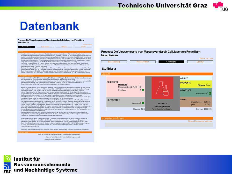 Institut für Ressourcenschonende und Nachhaltige Systeme Technische Universität Graz Datenbank