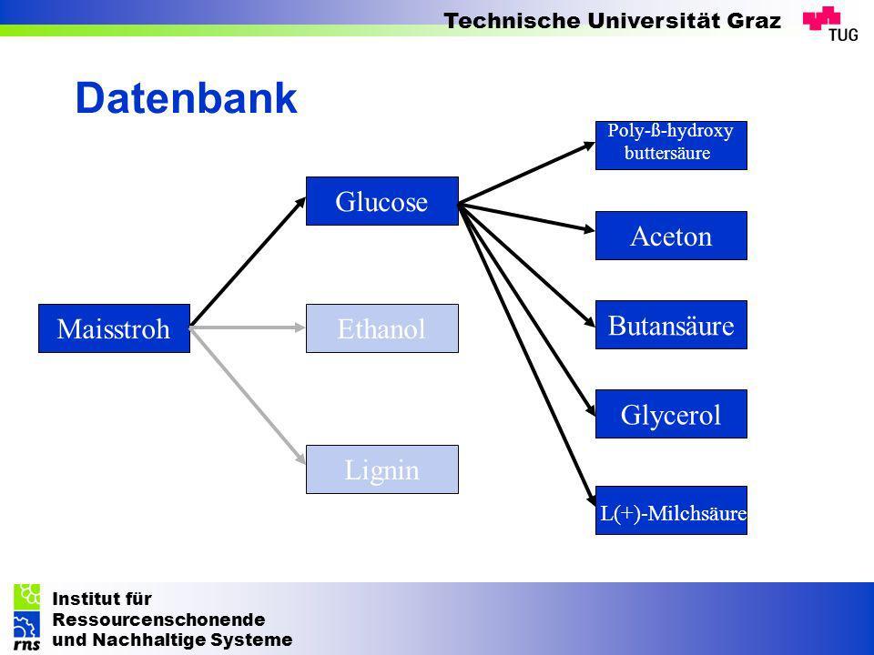 Institut für Ressourcenschonende und Nachhaltige Systeme Technische Universität Graz Datenbank Maisstroh Glucose Lignin Ethanol Aceton Glycerol Butans