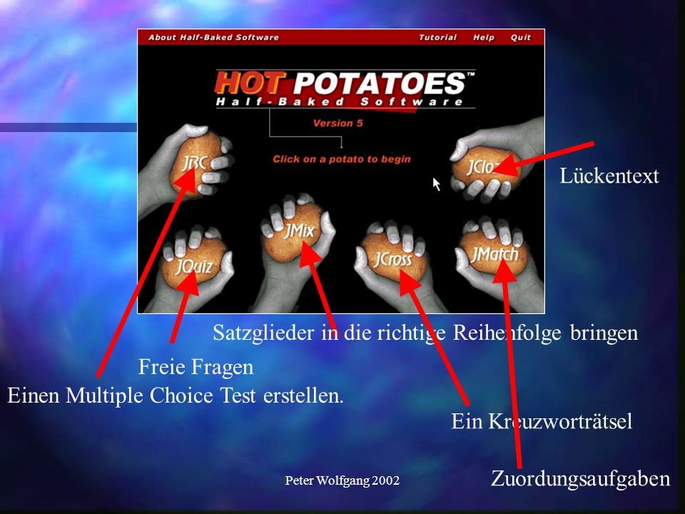 Peter Wolfgang 2002 Starten wir mit dem Mulitple Choice Test.