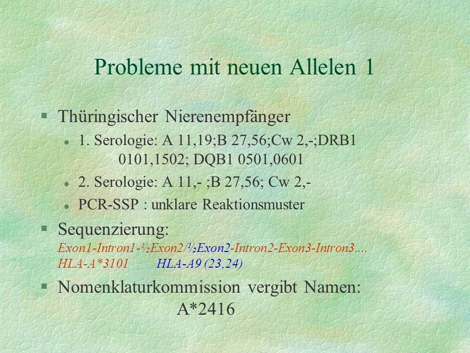 Probleme mit neuen Allelen 1 §Thüringischer Nierenempfänger l 1. Serologie: A 11,19;B 27,56;Cw 2,-;DRB1 0101,1502; DQB1 0501,0601 l 2. Serologie: A 11