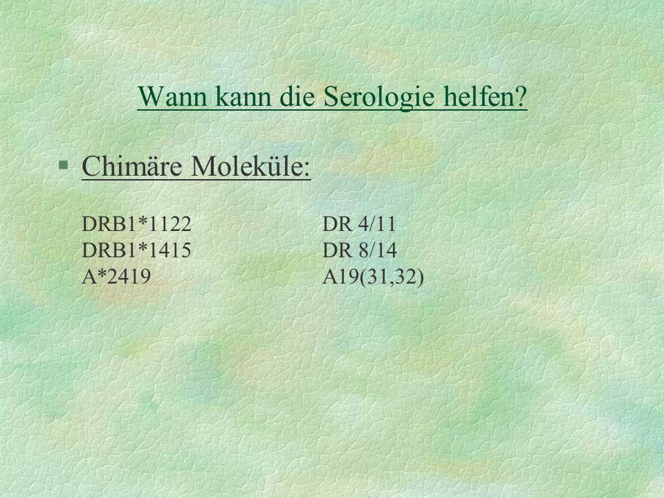Wann kann die Serologie helfen? §Chimäre Moleküle: DRB1*1122DR 4/11 DRB1*1415DR 8/14 A*2419A19(31,32)