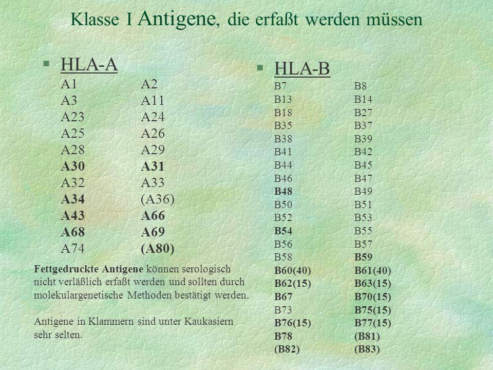 Klasse I Antigene, die erfaßt werden müssen §HLA-A A1A2 A3A11 A23A24 A25A26 A28A29 A30A31 A32A33 A34(A36) A43A66 A68A69 A74(A80) §HLA-B B7B8 B13B14 B1
