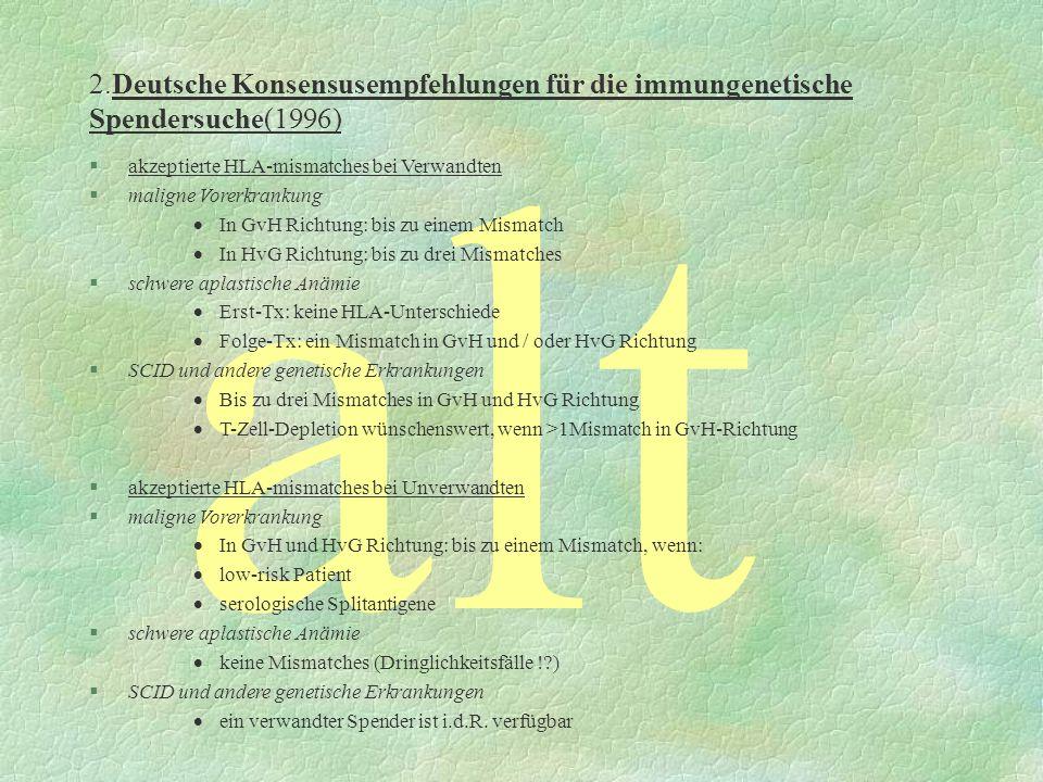 2.Deutsche Konsensusempfehlungen für die immungenetische Spendersuche(1996) alt §akzeptierte HLA-mismatches bei Verwandten §maligne Vorerkrankung In G