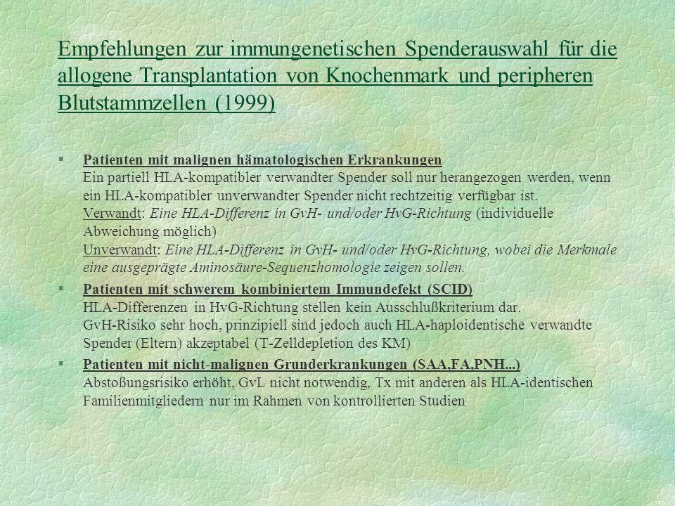 Empfehlungen zur immungenetischen Spenderauswahl für die allogene Transplantation von Knochenmark und peripheren Blutstammzellen (1999) §Patienten mit