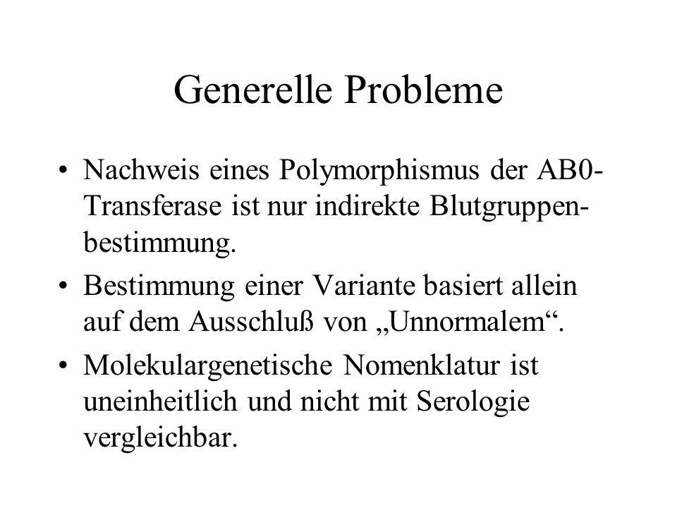 Generelle Probleme Nachweis eines Polymorphismus der AB0- Transferase ist nur indirekte Blutgruppen- bestimmung. Bestimmung einer Variante basiert all