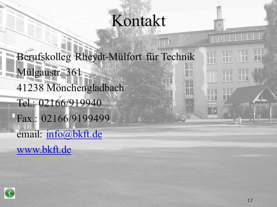 Kontakt Berufskolleg Rheydt-Mülfort für Technik Mülgaustr.