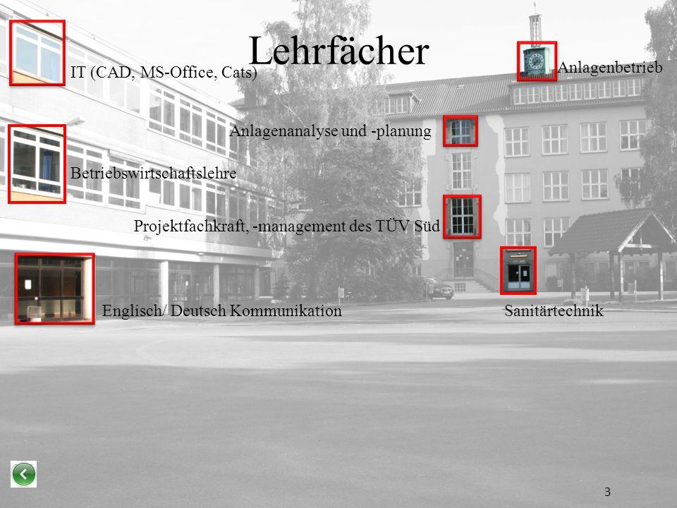Lehrfächer Englisch/ Deutsch Kommunikation Betriebswirtschaftslehre IT (CAD, MS-Office, Cats) Anlagenanalyse und -planung Anlagenbetrieb Sanitärtechnik Projektfachkraft, -management des TÜV Süd 3